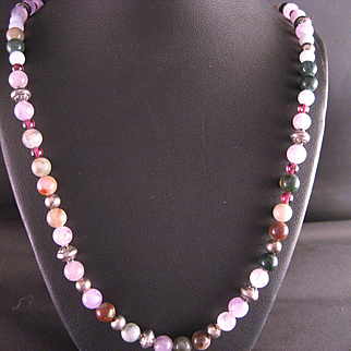 Vintage Gemstone and Sterling Silver Necklace