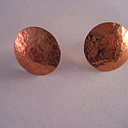 Vintage Copper Stud Earrings with Sterling Silver Post.