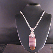 Vintage Sterling Silver Jasper Pendant And Chain