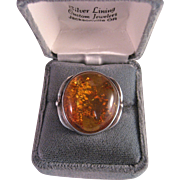 Vintage 70's Amber Sterling Silver Ring