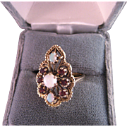 Vintage Opal Garnet 14 K Yellow Gold Ring