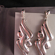Vintage 80's Large Sterling Silver Earrings
