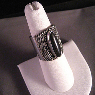 Vintage Wide and Bold Black Onyx Sterling Silver Ring