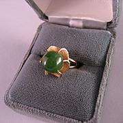 Vintage Estate Jade and 14 K Gold Ring