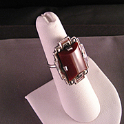 Vintage Sterling Silver Carnelian Ring