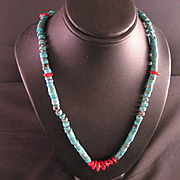 Vintage Southwest Turquoise Heishi Bead Necklace