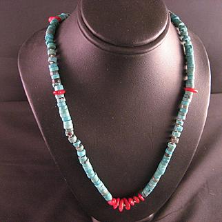 Vintage Southwest Turquoise Heishi Bead Necklace