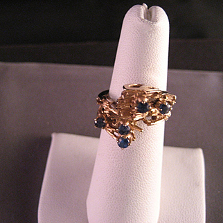 Vintage Sapphire 14 K Yellow Gold Ring