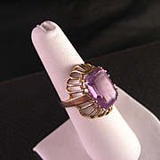 Vintage 18 K Yellow Gold 7.5 Carat Amethyst Ring