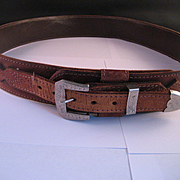 Classic Ranger Snake Skin and Leather Belt