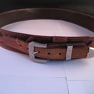 Classic Ranger Snake Skin and Leather Belt