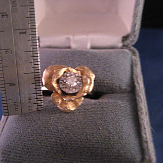 Vintage 14 K Yellow and Diamond Rose Ring