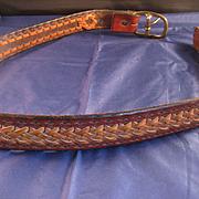 Vintage Handwoven Leather Belt