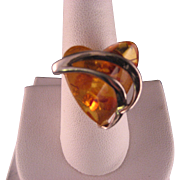 Vintage Heart Amber and Sterling Silver Ring