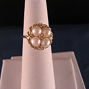 Vintage 14 K Gold and Pearl diamond ring