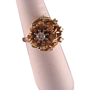 Vintage 14 K yellow Gold and Diamond Ring