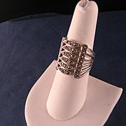 Vintage Wide Sterling Silver Marcasite Ring
