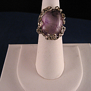 Vintage Lost Wax Casting Sterling Silver Amethyst Ring