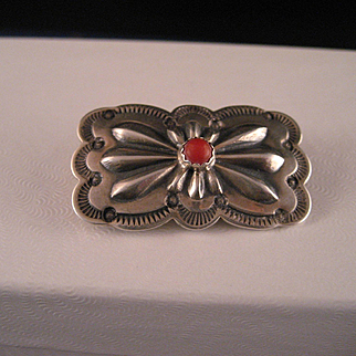 Vintage Navajo Repousse` Sterling Silver Brooch / Hat Pin