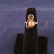 Vintage 60's Sterling Silver Coral Navajo Ring