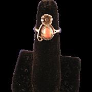 Vintage 60's Sterling Silver Coral Navajo Ring