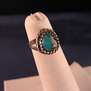 Vintage 1970's Navajo Child's Silver and Turquoise Ring
