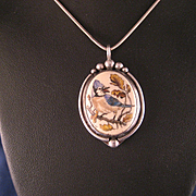 Vintage 1970's Sterling Silver Etched Blue Jay Bird Pendant