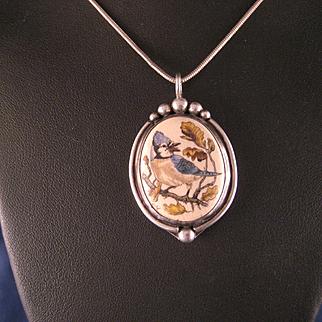 Vintage 1970's Sterling Silver Etched Blue Jay Bird Pendant