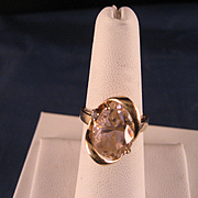Vintage 1980's Pink Champagne CZ 10 K Yellow Gold Ring
