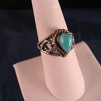 Vintage 1960's Sterling Silver Turquoise Ring
