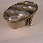 Vintage 1970's Abalone Pill Box