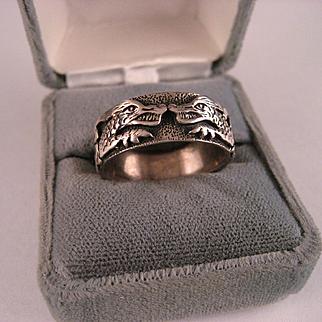 Vintage Sterling Silver Celtic Dragon Ring