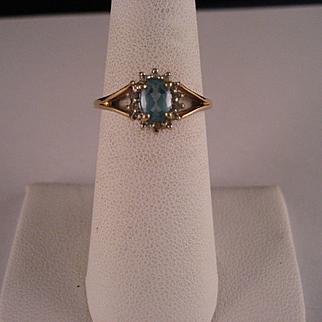 Petite Vintage London Blue 10 K Gold Ring