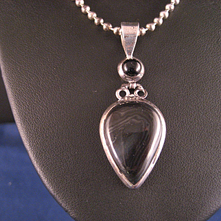 Vintage Psilomelane Sterling Silver Pendant and Chain Necklace