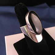 Vintage Black Onyx Sterling Silver Elongated Ring