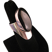 Vintage Black Onyx Sterling Silver Elongated Ring