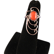 Vintage Southwest Sterling Silver and Red Coral Ring