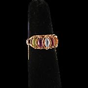 Vintage 14 K Yellow Gold Multi Gemstone Ring