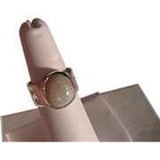 Vintage Opal Diamond White gold Sterling Silver Ring