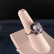 Vintage London Blue Topaz Sterling Silver Ring 9.5 Carats.