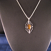 Vintage Sterling Silver Honey Tiger Eye Chain and Pendant