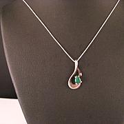 Vintage Sterling Silver Malachite Pendant