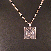 """Vintage Sterling Silver """"Think Earth"""" Pendant and Chain"""