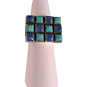 Vintage Sterling Silver Large Bold Lapis & Turquoise Ring