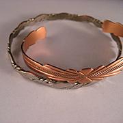 Estate Copper Alpaca Cuff Bangle Bracelets