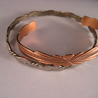 Estate Copper Alpaca Cuff Bangle Bracelets