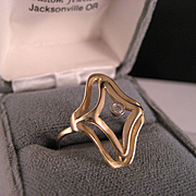 Vintage 14 k Yellow gold Floating Diamond Ring