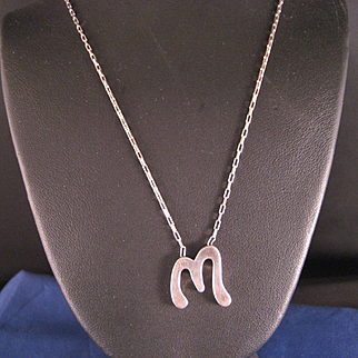 "Vintage Sterling Silver Initial ""M"" necklace"
