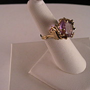 Vintage Amethyst Wire Wrap Gold Fill Ring