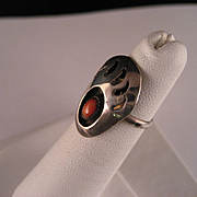 Vintage Sterling Silver Coral and Bear Claw Shadow Box Ring